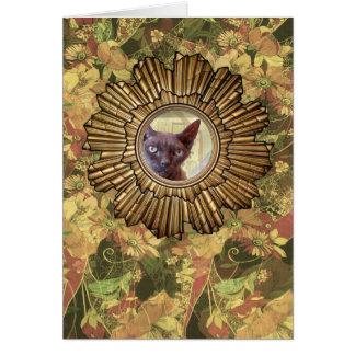 Vintage Style Art Deco Devon Rex Cat Card