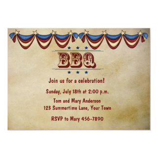 "Vintage Style BBQ 5"" X 7"" Invitation Card"