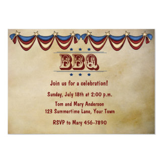 Vintage Style BBQ 5x7 Paper Invitation Card