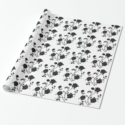Vintage Style Black Flowers Gift Wrapping Paper