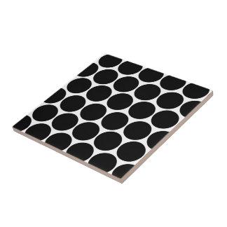 Vintage Style Black Polka Dotted Tile