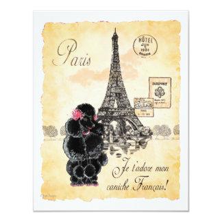 Vintage Style Black Poodle Eiffel Tower Print 11 Cm X 14 Cm Invitation Card