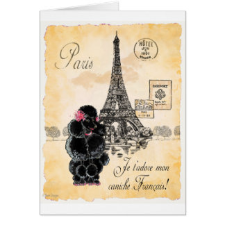 Vintage Style Black Poodle Eiffel Tower Print Card