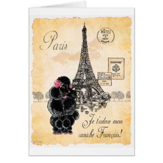 Vintage Style Black Poodle Eiffel Tower Print Greeting Card