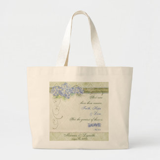 Vintage Style Blue Hydrangea Floral Swirl Damask Jumbo Tote Bag