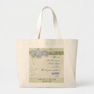 Vintage Style Blue Hydrangea Floral Swirl Damask Large Tote Bag