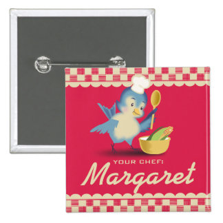 Vintage style bluebird chef cooking name badge