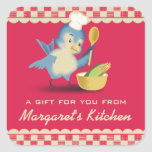 Vintage style bluebird chef food gift tag label square sticker