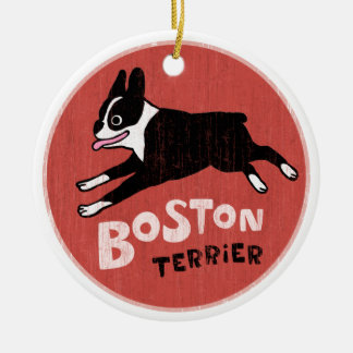 Vintage Style Boston Terrier Round Ceramic Decoration