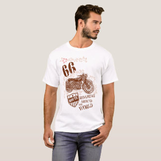 Vintage Style Brown Motorcycle Design T-Shirt