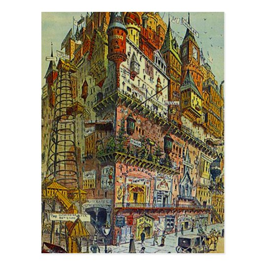 Vintage Style Busy city Old town centre POSTCARD