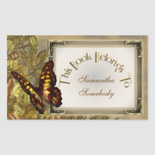 Vintage Style Butterfly Illustration Bookplate Sticker
