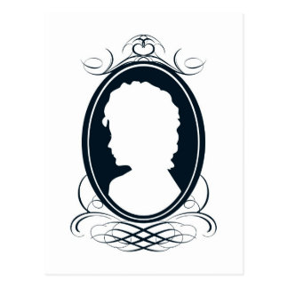Vintage style cameo silhouette design postcard