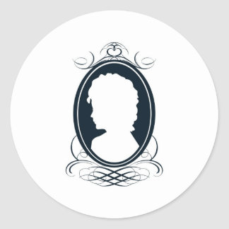 Vintage style cameo silhouette design round sticker
