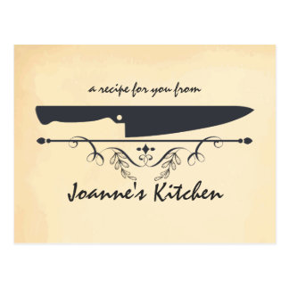 Vintage style chef's knife cooking food recipe postcard