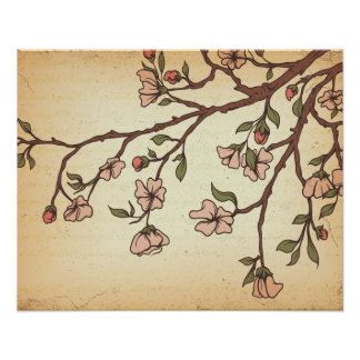 vintage style cherry blossom art poster