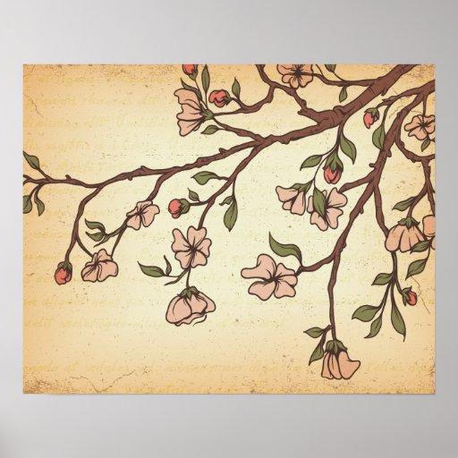 vintage style cherry blossom art print