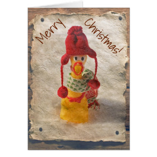 Vintage Style Chicken Christmas Card! Greeting Card