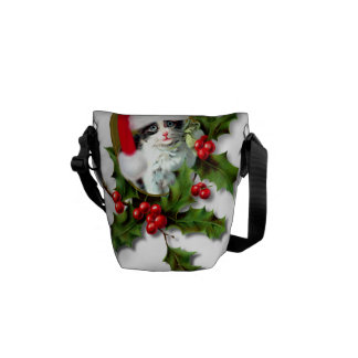 Vintage Style Christmas Kitten Courier Bags