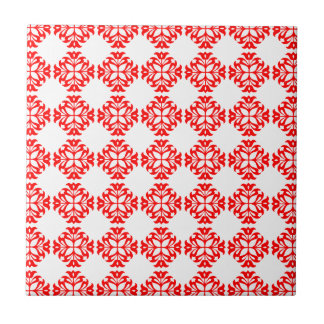 Vintage Style Classic Damask Pattern Print : Red Small Square Tile