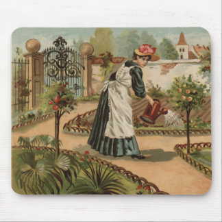 Vintage style country garden scene mousepad