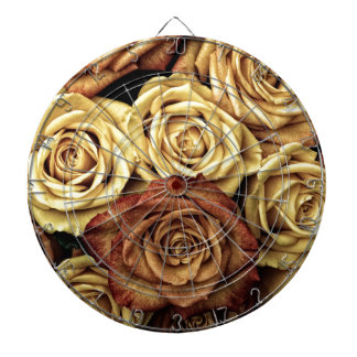 Vintage Style Cream and Red Roses Dartboard