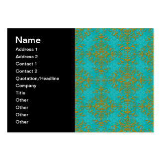 Vintage Style Damask Turquoise Aqua Gold Pattern Business Card Template