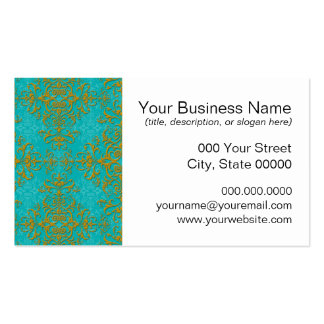 Vintage Style Damask Turquoise Aqua Gold Pattern Business Card