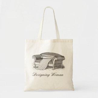 Vintage Style Designing Woman Interior Decorator Budget Tote Bag