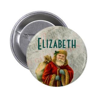 Vintage Style Father Christmas Santa Claus 6 Cm Round Badge
