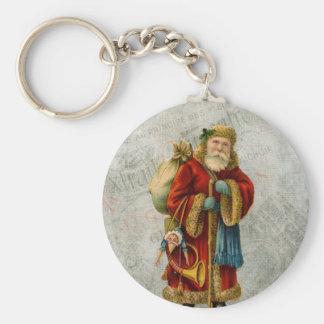 Vintage Style Father Christmas Santa Claus Basic Round Button Key Ring