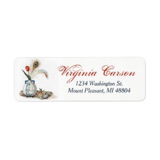 Vintage Style Feathers Tulip Vase Address Labels