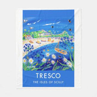 Vintage style fleece blanket, Tresco by John Dyer