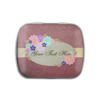 Vintage Style Floral Border Jelly Belly Candy Tin