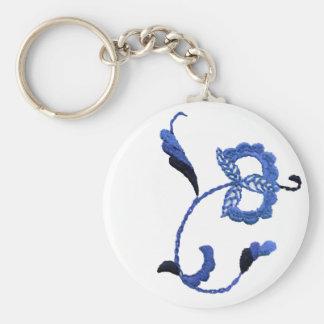 Vintage Style Floral Motif Basic Round Button Key Ring