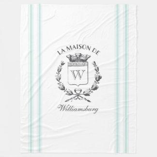 Vintage Style French Aqua Blue Ticking Tape Crest Fleece Blanket
