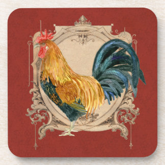 Vintage Style French Country Rustic Barn Rooster Coaster