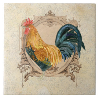 Vintage Style French Country Rustic Barn Rooster Large Square Tile