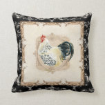 Vintage Style French Damask Black n White Rooster Pillows