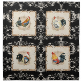 Vintage Style French Damask Black n White Rooster Napkin