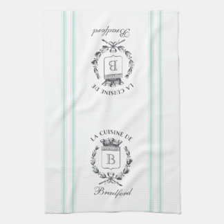 Vintage Style French Sack Custom Name and Monogram Tea Towel