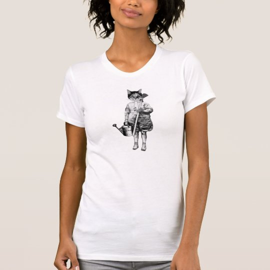 vintage style funny gardening cat tshirt