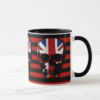 vintage style gothic skull with union jack mug