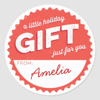 Vintage Style Holiday Gift Sticker red and white