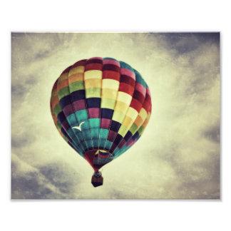 Vintage style hot air balloon print photo print