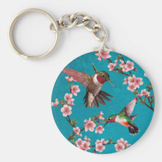 Vintage Style Hummingbird Painting Key Ring
