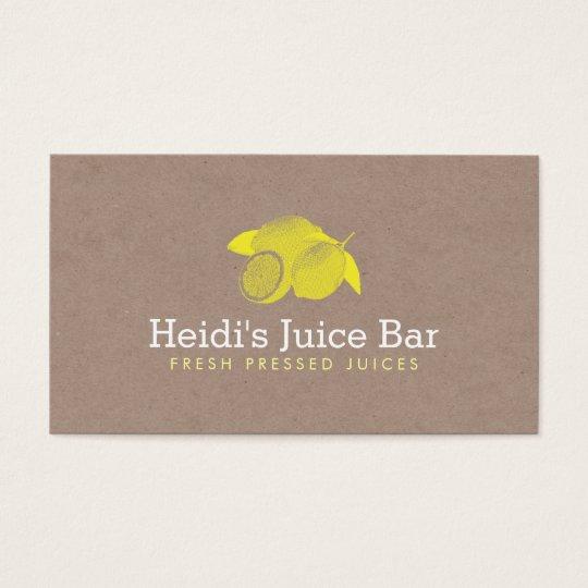 Vintage Style Illustration of Lemons on Cardboard Business Card