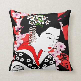 vintage style japanese geisha cushion