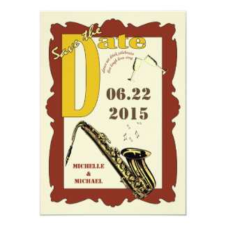 Vintage Style Jazz Save the Date Invites