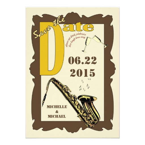 Vintage Style Jazz Save the Date Custom Announcement